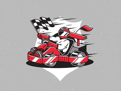 Go-Kart. flag speed car wheels vector illustration go kart racing race