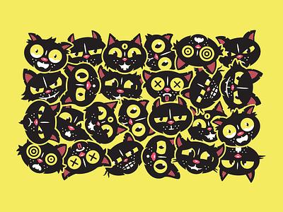 Black Cat. eyes corey reifinger vector johnny cupcakes character cat illustration black cat halloween cat kitten kitty cat