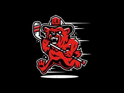 LAFD. illustration design corey reifinger hockey fire department violent gentlemen los angeles bear california vector illustration mascot character art