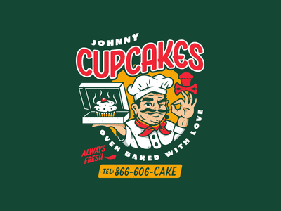 Oven Baked with Love. branding graphic design typography vector corey reifinger design chef johnny cupcakes type illustration food delivery pizza