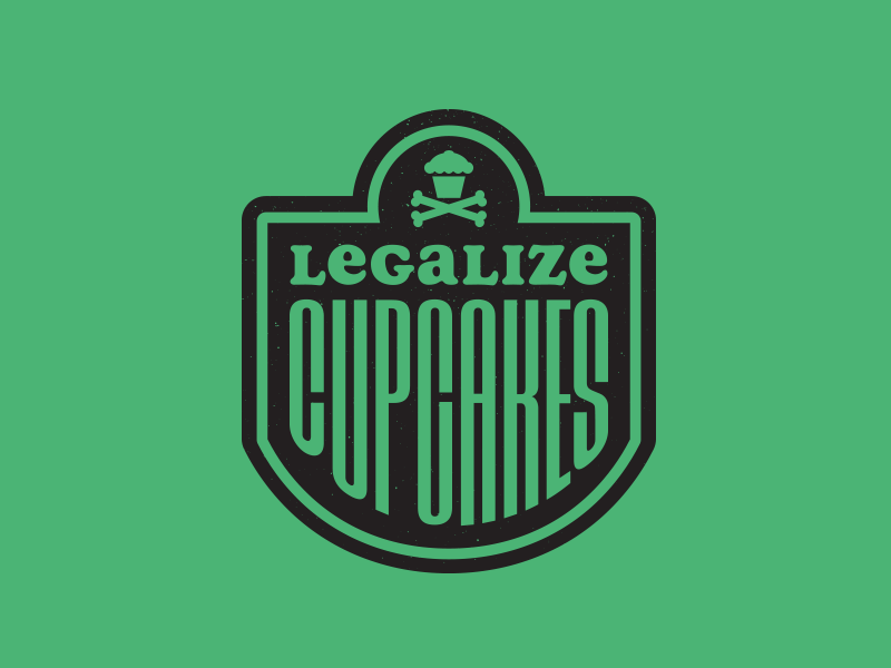 Legalize Cupcakes 1. graphic design branding corey reifinger 420 sticker johnny cupcakes legalize cupcakes crest badgedesign badge typography type logo
