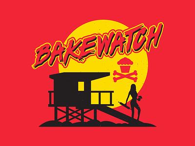 Bakewatch. corey reifinger lifeguard johnny cupcakes illustration typography type beach summer baywatch