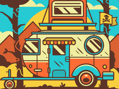 Camp. hiking mountains woods outdoors campers camper adventure corey reifinger branding graphic design typography type vector illustration johnny cupcakes