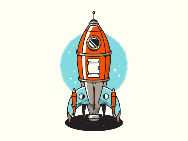 Rocket. texture space retro rocketship spaceship corey reifinger graphic design vector illustration