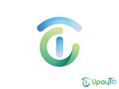 UpayTo symmetrical gradient blue green payment logo