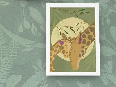 Giraffes wild animals safari savanna giraffe animals illustration
