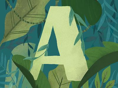 Letter A green selva jungle illustrated letter letter letters