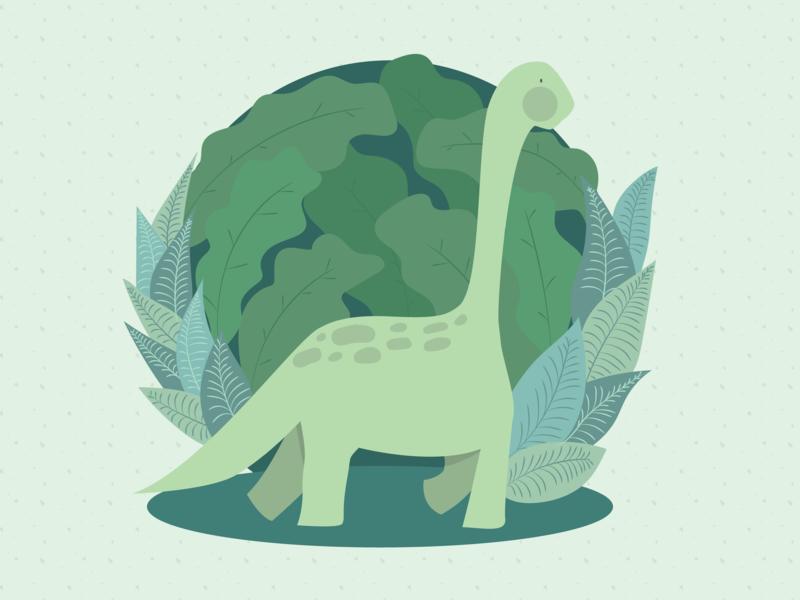 Dino leaves illustration green dinossaur dino