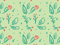 Wallpaper Flowers and Leaves Pattern