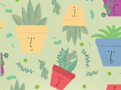 pattern plants pot with faces plants pattern