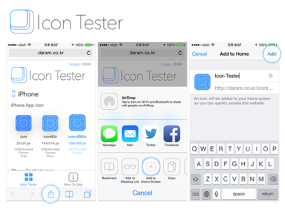 Icon Tester 2 - Share, Add to Home Screen