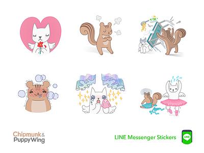 Chipmunk & Puppy Wing line chipmunk sticker daramghaus