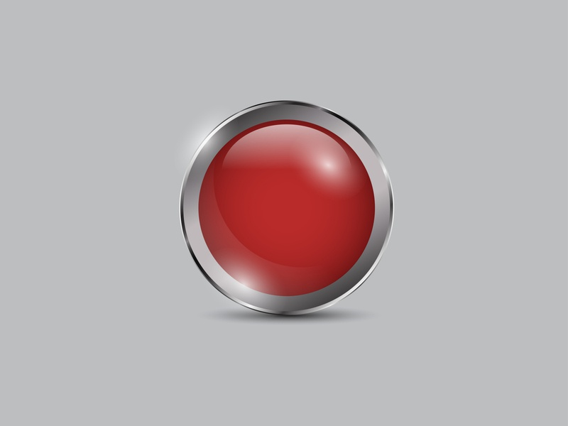 Red Button Realistic 3d glossy circle realistic metal shiny icon vector red button
