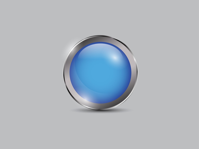 Blue Button Realistic blue vector shiny realistic metal icon glossy circle button 3d