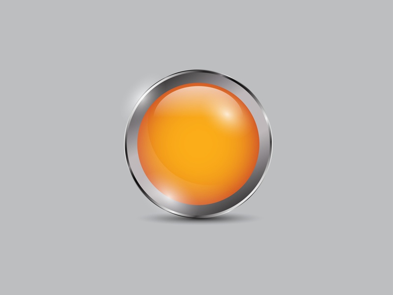 Orange Button Realistic orange vector shiny realistic metal icon glossy circle button 3d