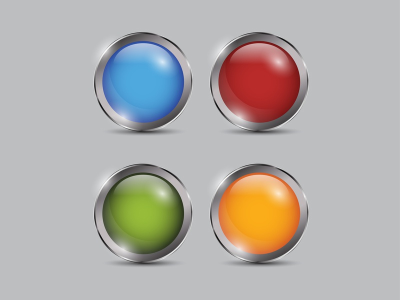 Set Colorfull Button Realistic green orange red blue set collection vector shiny realistic metal icon glossy circle button 3d