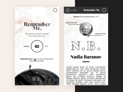 Obituary of the Day mobile app concept: Remember Me