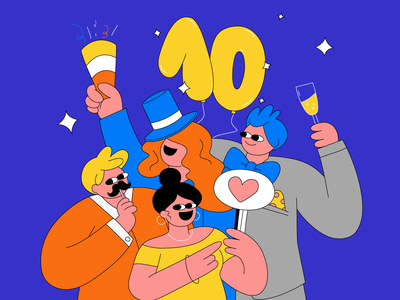 Celebration 🎉 funny celebration happyness characters party character digital design illustration