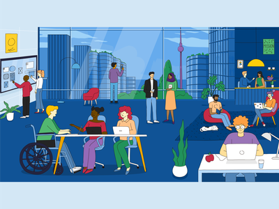UTC, the future of work technology office people startup workplace technolgy blue innovation character digital design illustration