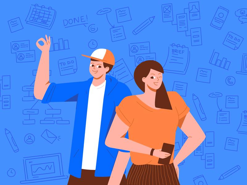 Project Management vs Product Management product management project management technology blue character innovation article digital design illustration