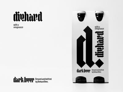 Diehard Beer - Sneak Peek One typography brandits logo bottle dark alcohol label diehard hard die branding beer