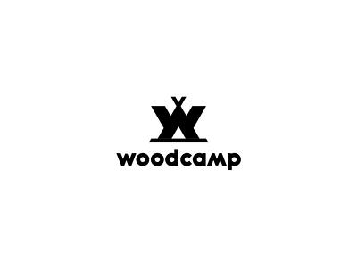 [ WIP ] - Woodcamp minimal branding logo monogram tent woods summer water leak campng camp wood