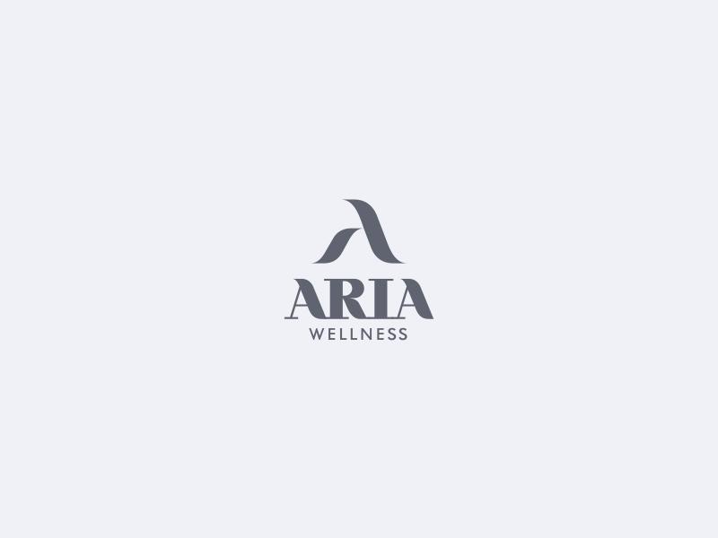 Aria health wellness spa logo branding peace wave skin care initial resort