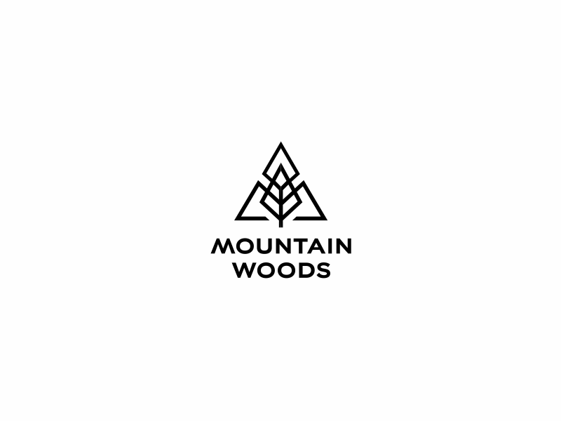 Mountain Woods hotel spa vacation branding logo holiday resort eco green wood tree mountain