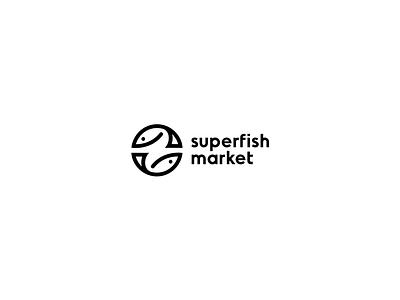 Superfish Market trade brandits branding logo circle fresh water market fish super