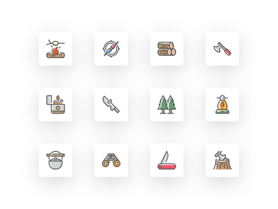 Free Adventure and Survival Icon Set jungle village compass barbecue binocular journey icons icon survival adventure