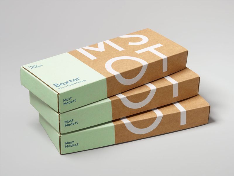 Most Modest — Baxter Packaging industrial design logo identity branding packaging
