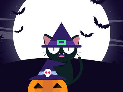 New Shot - 11/05/2018 at 10:08 AM vector magic desing cat cartoon helloween flat flat design illustration