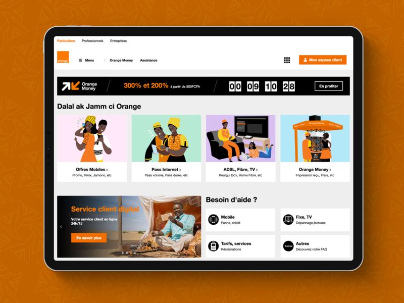 Orange Sénégal Website UX-UI telecommunication telecom orange africa dakar senegal uidesign ux-ui ui ux yux