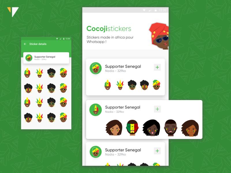 Cocoji Stickers UX-UI Design uidesigns ui illustrator iconography cocoji design vector icons emoticons emojis illustration afcon can football ux-ui uidesign senegal africa yux ux