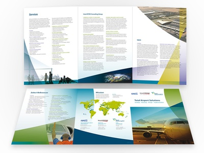 Tri-fold 6 Panel Brochure tri tri-fold panel brochure print corporate blue green airport map 6 panel