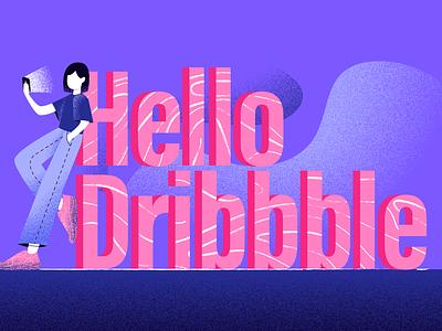 <title>Hello Dribbble</title> girl color vector design illustration