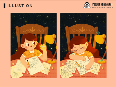 画画的女孩 girl love life design illustration