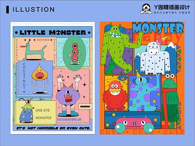 Monster banner love life design illustration