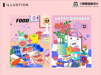 HAPPY BIRTHDAY flower girl love life design illustration