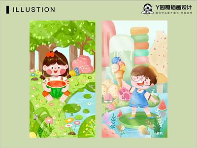 快乐的野餐 flower girl boy ui forest life design illustration
