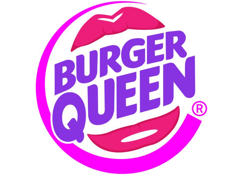 Burger Queen burger king burger logo burger design digital art graphic design illustrator illustration humour logo