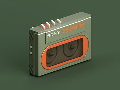 Sony WM-20 3dmodelling modelling walkman retro render illustration digitalart digital cinema4d c4d green 80s 3drender 3d