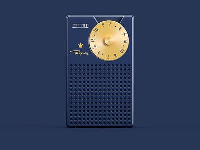 Regency TR-1 3dmodelling design render 50s blue product transistor radio illustration 3drendering 3drender 3d cinema4d c4d