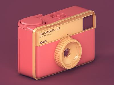 Kodak Instamatic 133 photo productdesign product vintage retro camera illustration c4d cinema4d render 3dmodeling 3drendering 3drender 3d