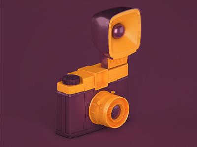 Diana F design vintage retro camera illustration c4d cinema4d modelling render 3drender 3dmodelling 3dart 3d