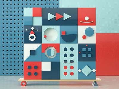 Animated Geometry I colorfull shapes 3dmodelling geometric animation motion render design 3d cinema4d c4d illustration