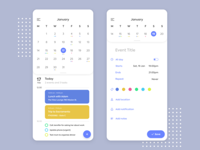 Calendar Design - Daily UI 038