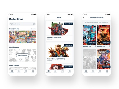 Stack Up. Collectors app. Inventory screens. collections market inventory management geek comics ui ux application mobile