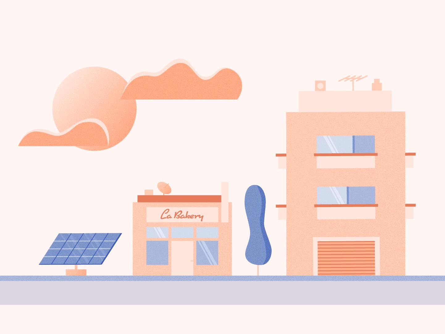 Neighborhood At Sunset motion design sunset neighborhood illustration cityscape