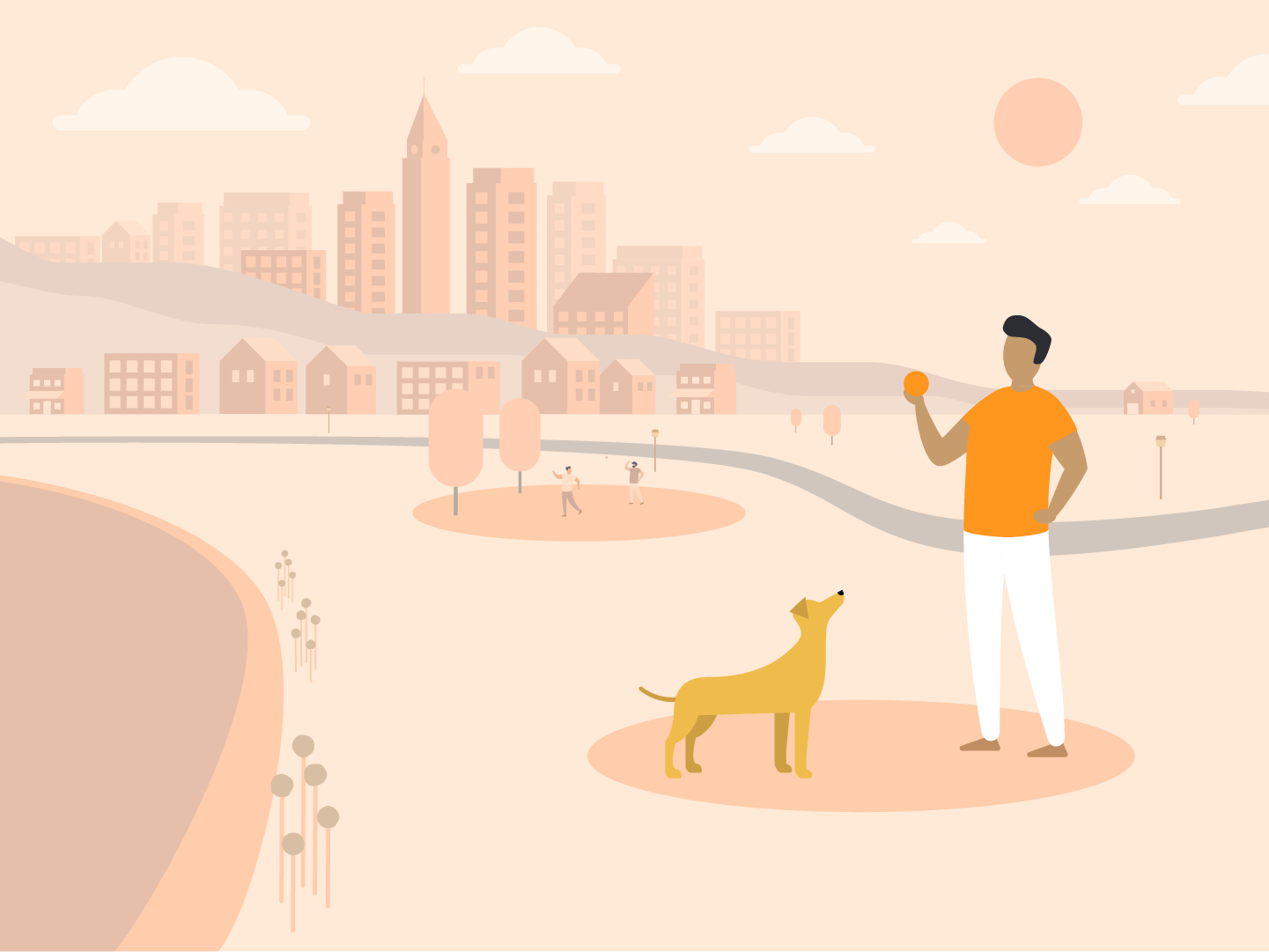 Playing Fetch In The Park dog park motion design illustration cityscape